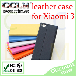 mobile phone cover for xiaomi 3 , leather flip cover original protective case for xiaomi 3