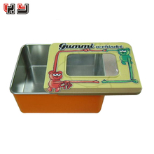rectangle slide open tin box with clear window for candy