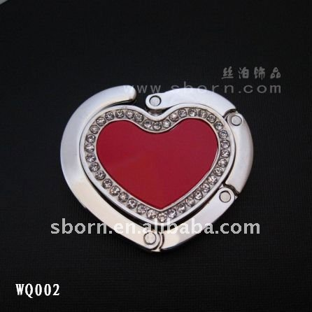 Metal Heart Shaped Foldable Purse Hook