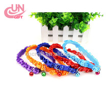 Lace pet collar with bells colorful dog collar nylon pet led collar