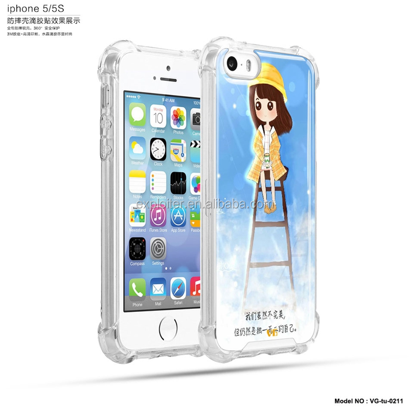 Anti knock air hybrid gel universal phone case for iphone 5 glow case
