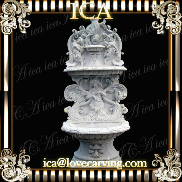 White color stone wall fountain