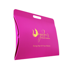 Qingdao Customized Logo Hot Pink Gold Foil Pillow Box For Hair Packaging