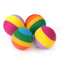 "4PCS Foam Small Cat Toys Ball 1.2"" Rainbow Antenna Balls Kitten Chase Toy AC5884"