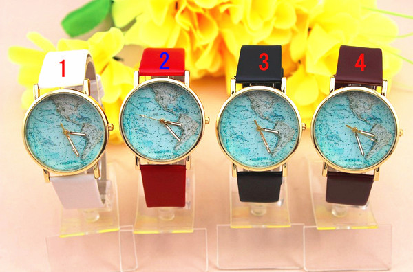 Freeshipping factory direct ladies leather wrist strap world map dial quartz women's watch