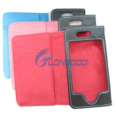 leather case pouch for iphone 3g,BLACK LEATHER WALLET CLIP CASE COVER FOR APPLE iPHONE