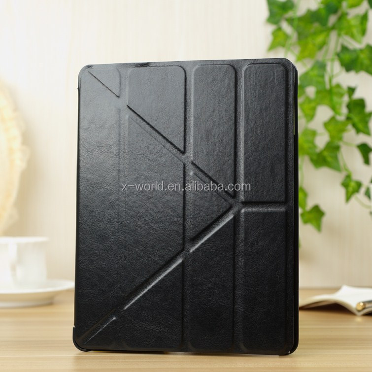 Four folding leather flip case for ipad, stand leather case for ipad