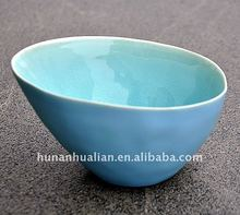 Fashion light blue ceramic bowl porcelain crackle glazed bowls in hot sale