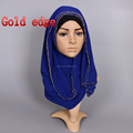 2017 hot selling chiffon gold beads muslim long scarf islamic hijab scarf women shawls GYW25