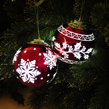 Led light christmas tree decoration laser engraving snowflake red ball hanging ornament xmas ball