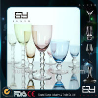 2014 Hot Sale Colored Beaded Stem Wine Glass