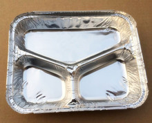 Disposable carry out aluminium foil food tray for bbq,aluminium foil tray 3 compartments,aluminum foil barbecue tray