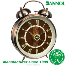 8inch antique brass interior decoration design metal table alarm clock/reloj despertador