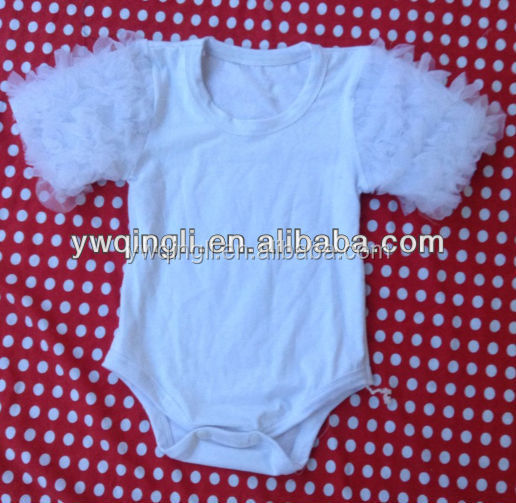 Boutique Wholesale Kids White Cotton Petti Romper Sweet Infant & Toddler Girls Short Sleeve One Piece Bodysuit with Lace Ruffle