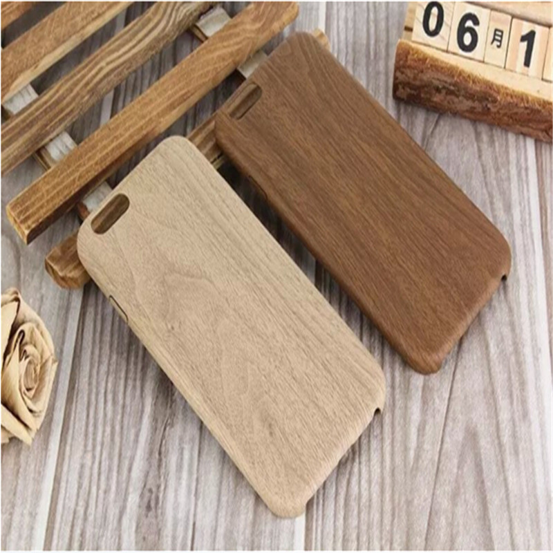 Phone Case Super Soft TPU + PU Wood Pattern Back Cover Leather Case Cover for iPhone 5 6 6 Plus