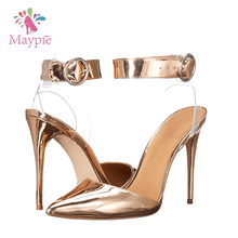 2017 New Arrival Ladies Party Wear Pointy Toe Slingback 10cm Stiletto Plastic Shoes High Heel Sandals