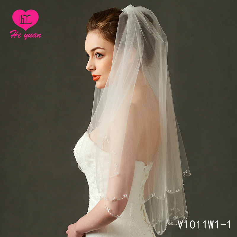 V1011W1-1Bigger factory hot sale beaded wedding accessories veil High quality wedding veil