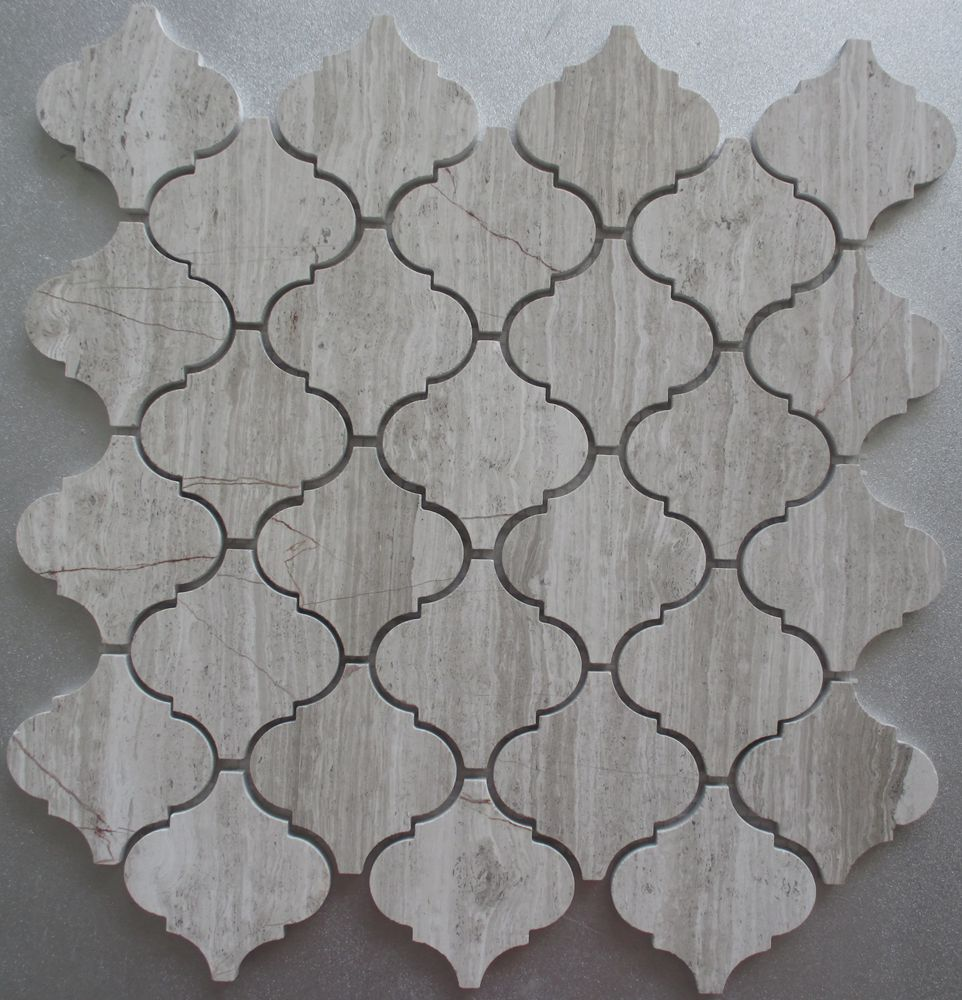 Golden select lantern design glass mix carrara white & grey wood grain marble mosaic tile on mesh