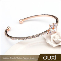 OUXI 2016 Top quality Korean design AAA zircon setting 18k gold bangle bracelet 50065