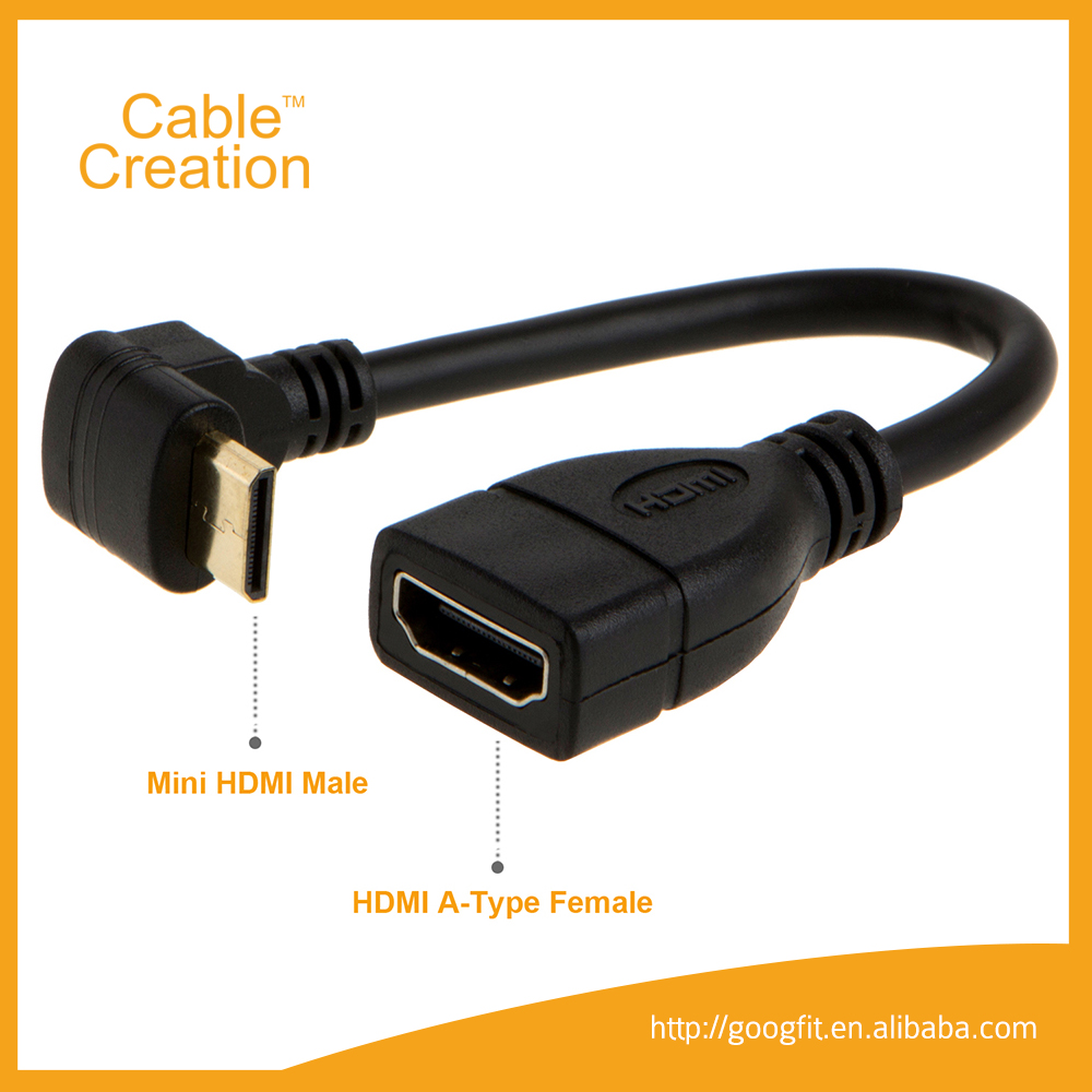 0.5FT Gold Plated Upword Angle MINI HDMI C Male to HDMI A Female Cable Adapter