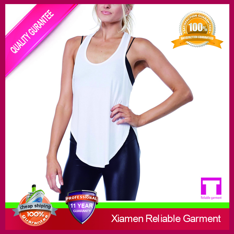 Womens Basic Cotton Spandex Racer Back Tank Tops In White