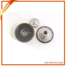 Garment hardware custom made metal jeans tack button