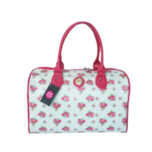 HQB004 Flower pattern PU handbag/Family weekend travel bag in Guangzhou manufacturer