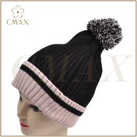 Black baggy beanie acrylic classic lady fashion winter knitted hat with fringe