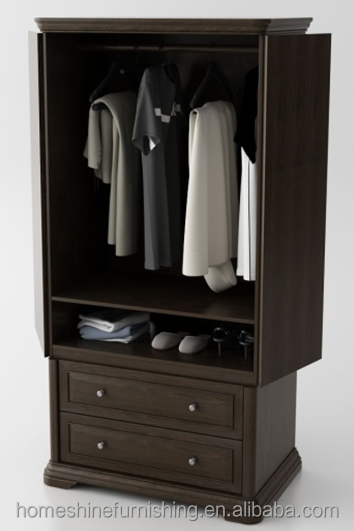 Chocolate Oak Finish folding doors multi-usage wardrobe with drawers