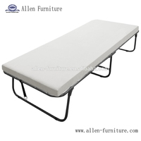 Deluxe metal folding guest bed twin size with foam mattress, portable cot bed
