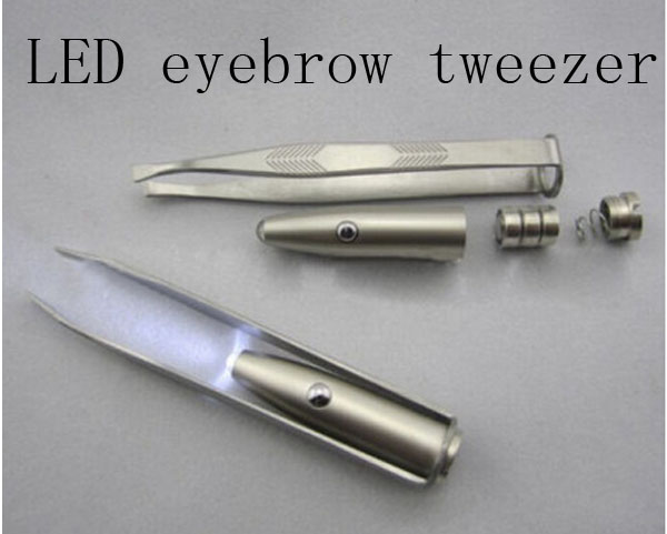 LED Light Eyebrow Tweezers Stainless Steel false eyelash