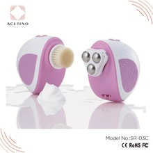 Deep cleansing vibrating and rotary facial massager sonic facial cleansing brush