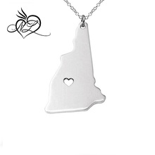 Silver Tone Stainless Steel Map Pendant Necklace, We Love New Hampshire, NH