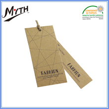 China factory printing hemp rope Kraft paper hang tag with eyelet