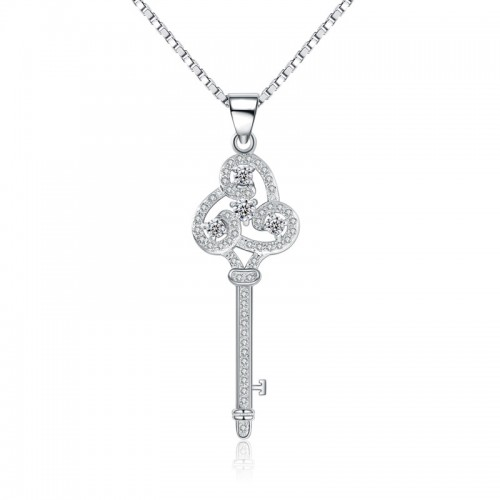 CA182 silver chain necklace wholesale zircon key pendant