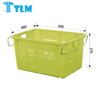 690x480x370mm Manufacturer Prices Light weight Stiffener Cover Nestable Virgin PP Blue Crate with handle for Industrial