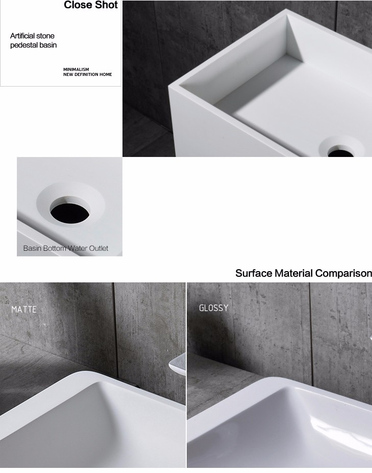China hot selling hotel sink rectangular washing basin pedestal