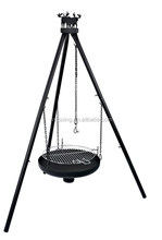 QXFP-007 simple tripod 2-in-1 outdoor camping fire pit bbq grill