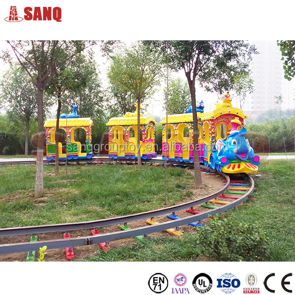 Elephant train for children playing, electric train ride, theme park train track