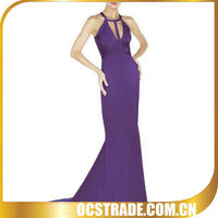 2014 purple long tea length dresses bandage