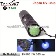 TANK007 2014 China Supplier TK566 365nm /1w high quality aluminium flashlight with telescopic magnetic pick-up tool a710