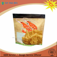 Custom printing prawn chips package zipper stand up food pouches