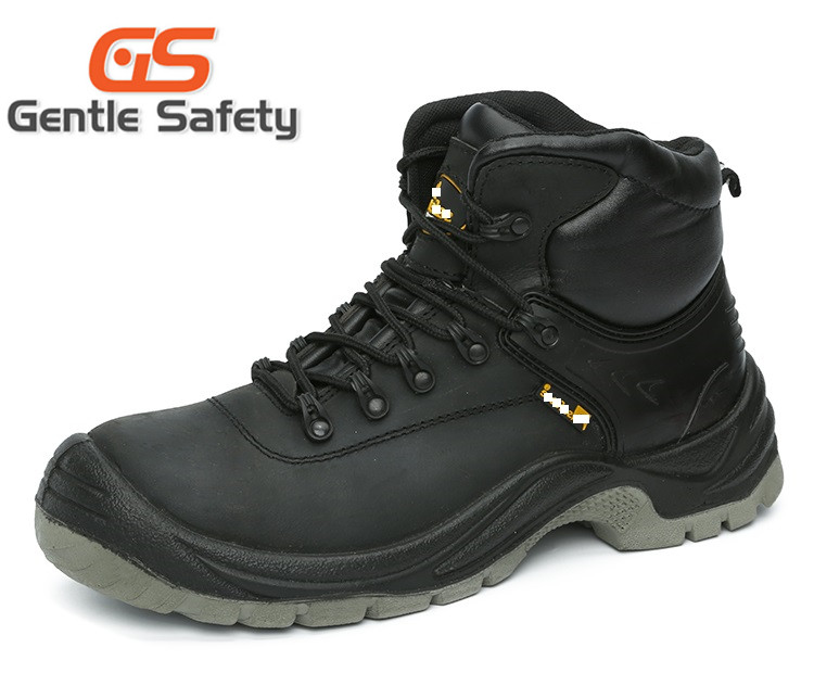 Genuine leather steel toe safety shoes for men black S3 level