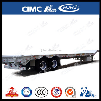 CIMC 2axle Straight-Beam Low Bed Semi Trailer Without Cover on Tire
