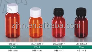 PET FDA standard round empty pill plastic bottle used for medicine