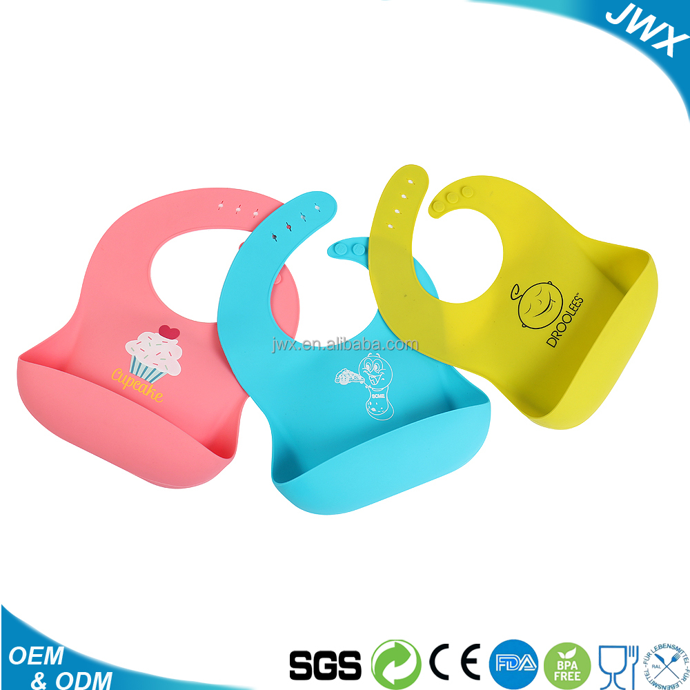 waterproof food grade easily wipes clean silicone baby bib