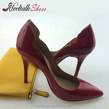 2015 hotest genuine leather handmade charming women shoes sexy ladies party shoes high heel