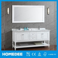 Homedee White Antique Style Floor Standing Bathroom Cabinet With Open Shelf