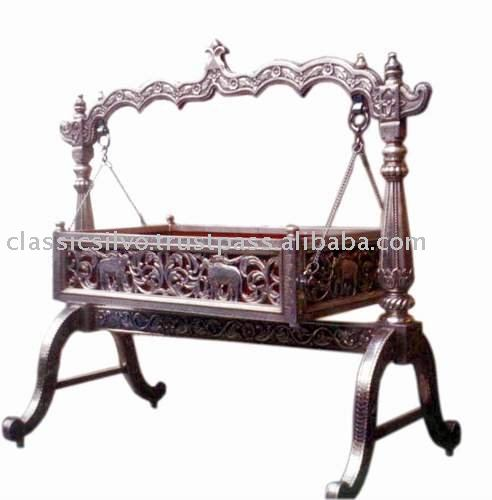Carved Silver Baby Swing Cradle Bed Silver Furniture From India