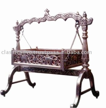 Carved Silver Baby Swing Cradle Bed Silver Furniture From